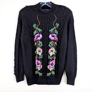 Vintage | Hand Embroidered Knit Sweater - E36